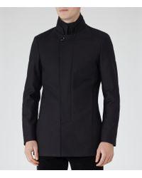 Reiss - Blue Porto Funnel Collar Coat for Men - Lyst