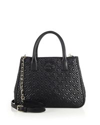 Tory Burch - Black Marion Quilted Leather Tote - Lyst