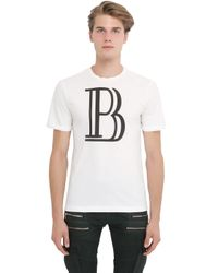 Balmain | White Vinyl Logo Printed Cotton T-shirt for Men | Lyst