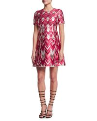 Giambattista Valli - Pink Chevron-striped Metallic Jacquard Dress - Lyst