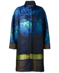 Alberta Ferretti - Blue Jacquard Coat - Lyst