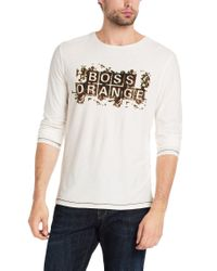 BOSS Orange - Natural Long-sleeved Shirt 'tracked 3' In Cotton for Men - Lyst