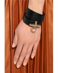 Givenchy - Obsedia Bracelet In Black Leather And Gold-tone - Lyst