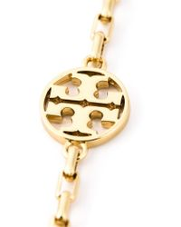 Tory Burch - Metallic Logo And Pearl Necklace - Lyst