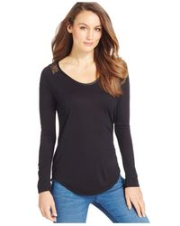 Calvin Klein Jeans | Black Lace-trim Long-sleeve Top | Lyst