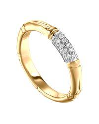 John Hardy | Metallic Bamboo Slim Diamond Band Ring | Lyst