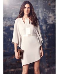 Halston - White Flowy Crepe Dress With Chain Hardware - Lyst
