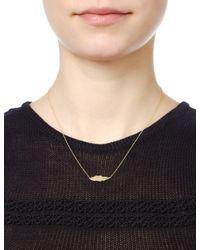 Leivan Kash   Metallic Gold Feather Mini Necklace   Lyst