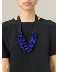 Emporio Armani - Blue Beaded Strand Tie Necklace - Lyst