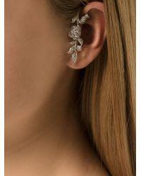 Elise Dray - Metallic White Gold Diamond Flower Ear Cuff - Lyst