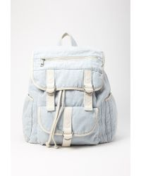 Forever 21 | Blue Drawstring Denim Backpack | Lyst