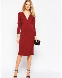 ASOS - Purple Tall Jersey Crepe Plunge Midi Dress - Lyst