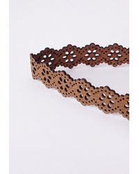Missguided - Brown Lazer Cut Choker Tan - Lyst