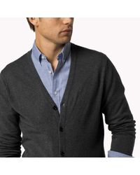 Tommy Hilfiger | Gray Wool Cotton Blend Cardigan for Men | Lyst