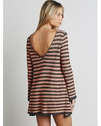 Free People | Gray Womens Counting Stripes Swing Tunic | Lyst
