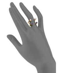 Aesa | Metallic Invisible Cities 4Mm White Freshwater Pearl & Iolite Double Wave Ring | Lyst