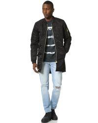 Scotch & Soda | Black Long Bomber Jacket for Men | Lyst