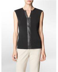 Calvin Klein | Black White Label V-neck Chain Detail Sleeveless Top | Lyst
