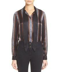 Veronica Beard - Blue 'tahoe' Tie Neck Print Silk Blouse - Lyst