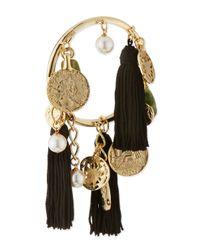 Oscar de la Renta - Black 10k Tassel Charm Bracelet - Lyst