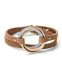 Michael Kors - Brown Tritone Doublewrap Bracelet - Lyst