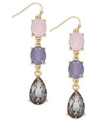 INC International Concepts | Purple Gold-tone Pink Black Triple Drop Earrings | Lyst