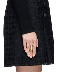 Eddie Borgo | Metallic 'frond' Crystal Pavé Palm Leaf Ring | Lyst