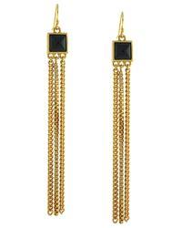 Vince Camuto - Metallic Clearview Goldtone Onyx Long Fringe Earrings - Lyst