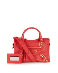 Balenciaga | Red Classic Mini City Metallic-edge Cross-body Bag | Lyst
