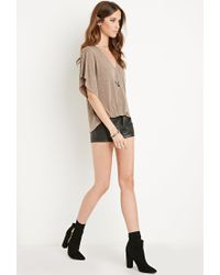 Forever 21 | Brown Surplice V-neck Top | Lyst