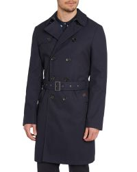 Ben Sherman - Blue Double Breasted Twill Trench Coat for Men - Lyst