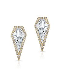 Anne Sisteron - 14kt Yellow Gold White Topaz Diamond Shield Earrings - Lyst