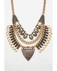Forever 21 - Metallic Etched Triangle Statement Necklace - Lyst