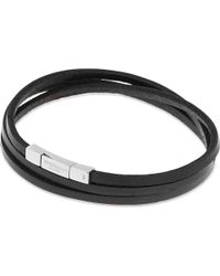 Tateossian | Black Leather Double Wrap Bracelet for Men | Lyst