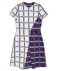 Jil Sander Navy - Purple Windowpane Check Short Sleeve Dress - Lyst