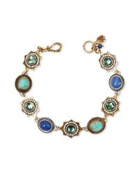 Lucky Brand - Multicolor Twotone Multistone Round Station Bracelet - Lyst