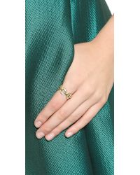 Michael Kors | Metallic Maritime Link Ring With Pave Crystals - Gold/Clear | Lyst