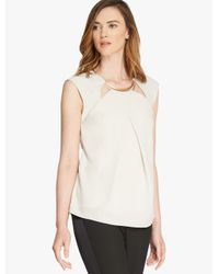 Halston - White Crepe Top With Hardware Insert - Lyst