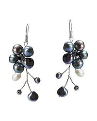 Aeravida - Blue Dreamy Nature Black Pearl Flower .925 Silver Earrings - Lyst