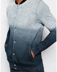 ASOS - Blue Jersey Bomber Jacket With Dip Dye Acid Wash for Men - Lyst