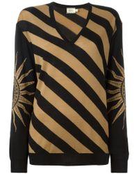 Fausto Puglisi - Black Striped V-neck Sweater - Lyst