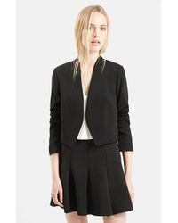 TOPSHOP | Black Crop Crepe Jacket | Lyst