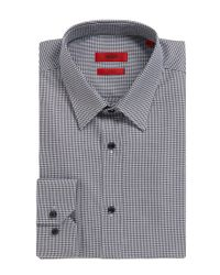 HUGO | Black Elisha01 Slim Fit Micro Houndstooth Shirt for Men | Lyst
