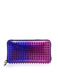 Christian Louboutin - Blue Panettone Studded Metallic Ombre Continental Wallet - Lyst