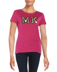 MICHAEL Michael Kors | Purple Sequin Logo Tee | Lyst