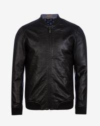 Ted Baker   Black Leather Bomber Jacket for Men   Lyst