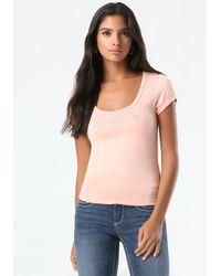 Bebe - Pink Solid Crochet Inset Tee - Lyst