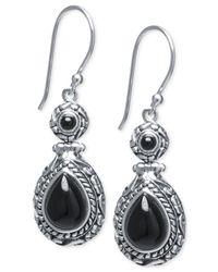 Macy's | Black Onyx Vintage-inspired Drop Earrings (7-4/5mm X 5-4/5mm) In Sterling Silver | Lyst