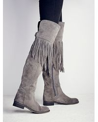 Free People - Gray Fp Collection Womens Can T Stop Fringe Over The Knee Boot - Lyst