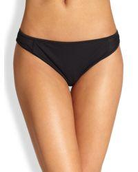MILLY | Black Curacao Mesh Bikini Bottom | Lyst